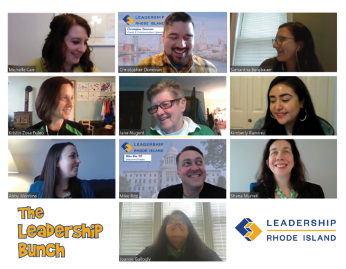 The Leadership Rhode Island staff at one of their first staff meetings on Zoom