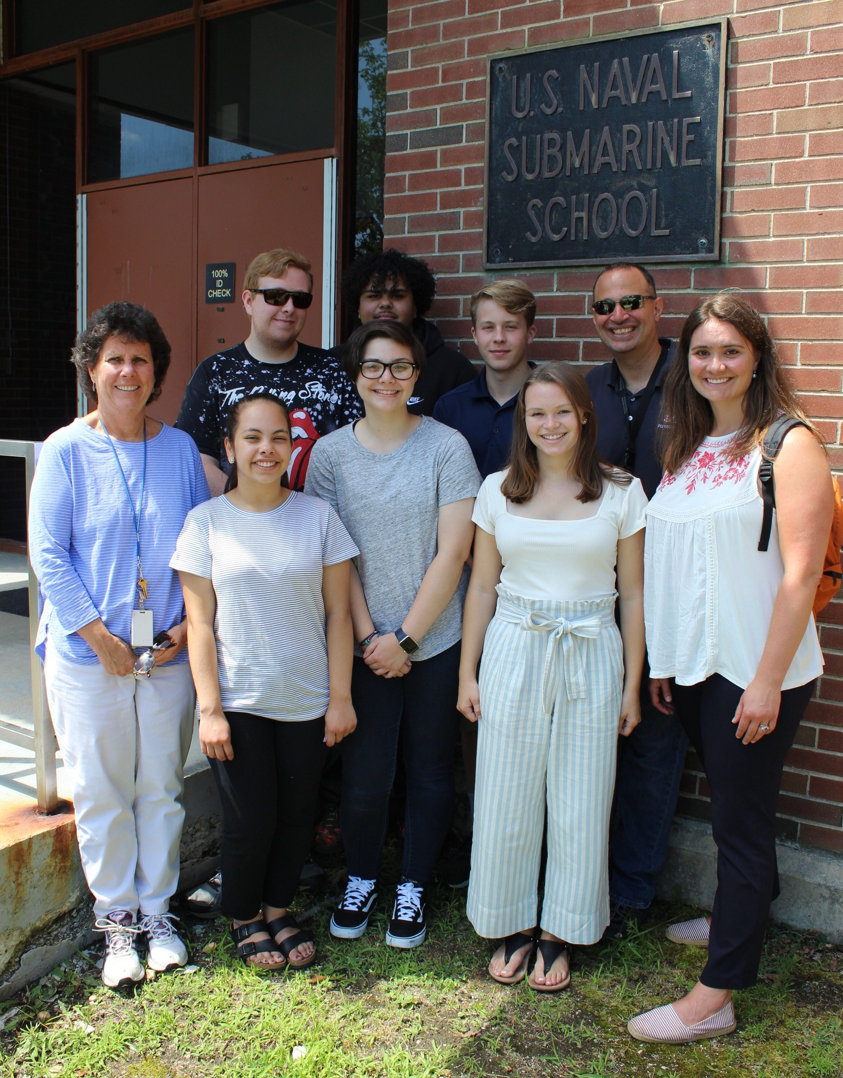 Debbie Profitt joins 2019 PrepareRI Interns for a tour of the Navy Sub School